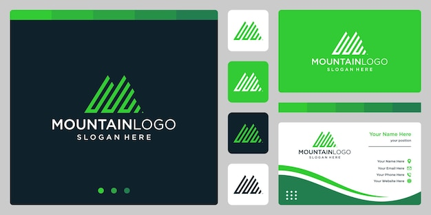 Estratto di logo di montagna creativo con design del logo della lettera iniziale u. vettore premium