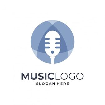 Concetto di logo di musica creativa, audio, modello di disegno dello studio.