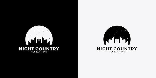 Modello di progettazione del logo del paese notturno creativo