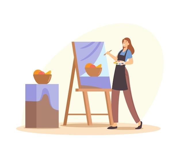 Occupazione creativa, hobby del disegno, corso d'arte o laboratorio. personaggio femminile artista di talento in grembiule con tavolozza di colori