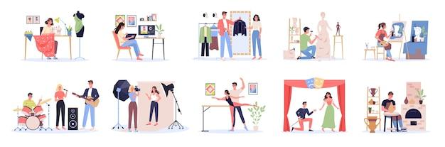 Occupazione creativa et. designer e artista al lavoro, ballerino e musicista. raccolta di hobby e professione moderna.