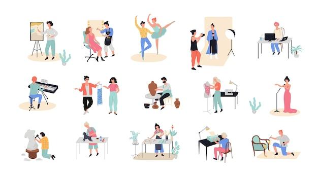 Set di occupazione creativa. fotografo e artista al lavoro