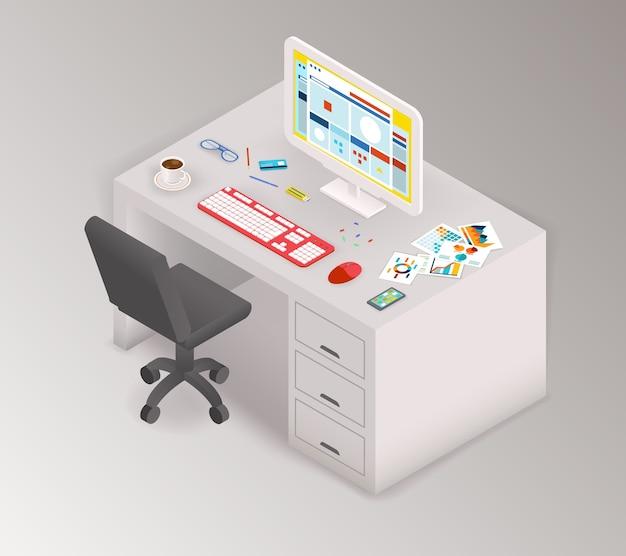 Area di lavoro isometrica dell'ufficio creativo.