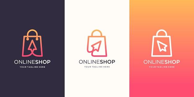Modello di disegni di logo del negozio online creativo