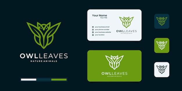 Gufo creativo con ispirazione per il design del logo a foglia