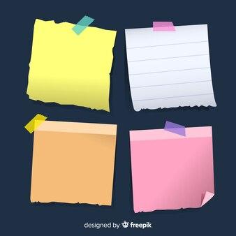 Pacchetto creativo di note adesive in stile realistico