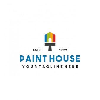 Design creativo del logo della casa di vernice Vettore Premium