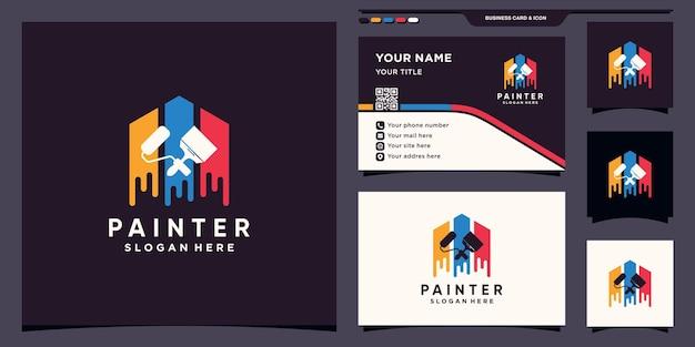 Modello di design del logo del pittore creativo con rullo a pennello e design del biglietto da visita