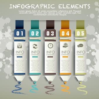 Modello di elementi infografici del grafico a barre della matita di carta creativa