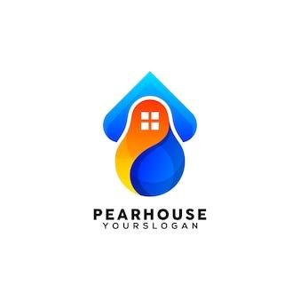 Vettore di design del logo colorato casa creativa pera