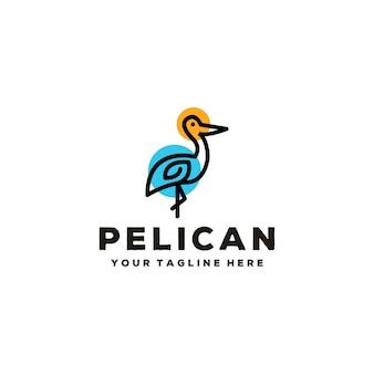 Design creativo del logo della linea pellicano