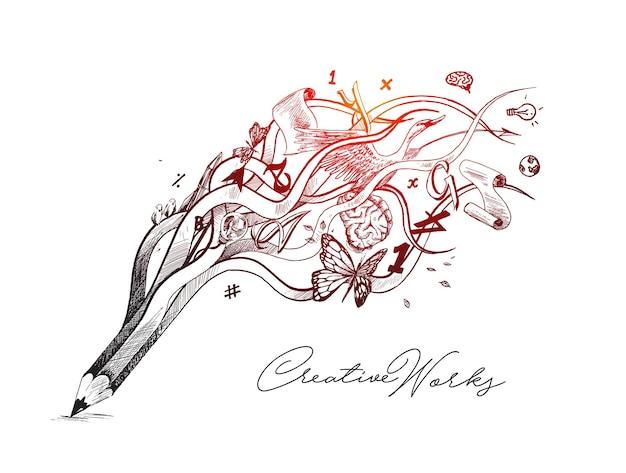Concetto creativo dell'illustrazione del disegno della matita per il processo creativo