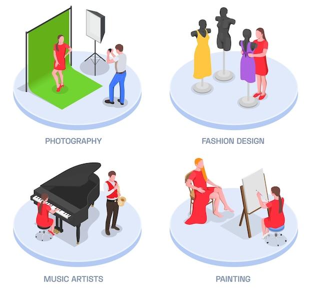 Insieme isometrico dell'artista di professioni di persone creative di quattro illustrazioni