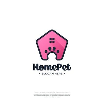 Modello di progettazione del logo creativo della casa dell'animale domestico