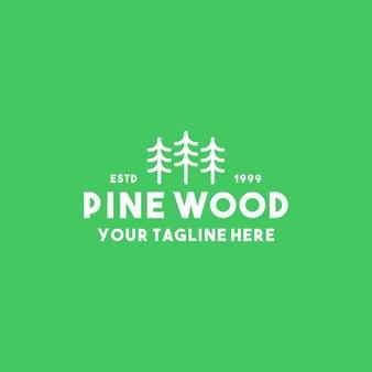 Design creativo del logo in legno di pino