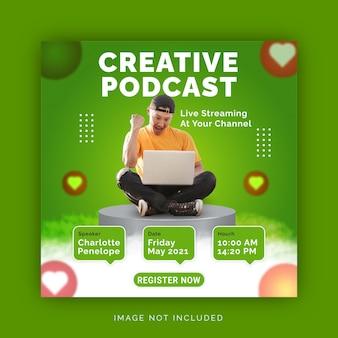 Podcast creativo strategie aziendali digitali social media instagram post template