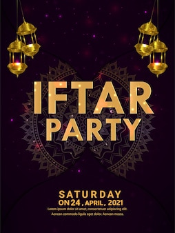 Manifesto creativo di invito a una festa iftar con lanterna dorata realistica