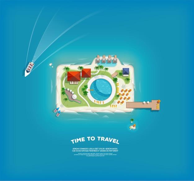 Poster creativo con isola a forma di macchina fotografica. banner di vacanza vacanza. vista dall'alto dell'isola. viaggio di vacanza. viaggi e turismo.