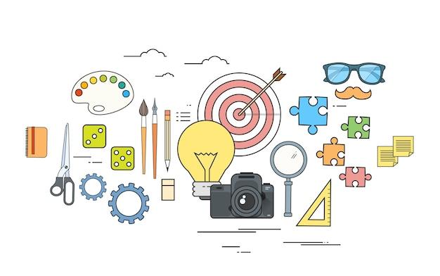 Logo a colori degli strumenti di lavoro del progettista dell'icona di processo creativo