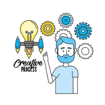 Processo creativo con progettazione di icone di idee