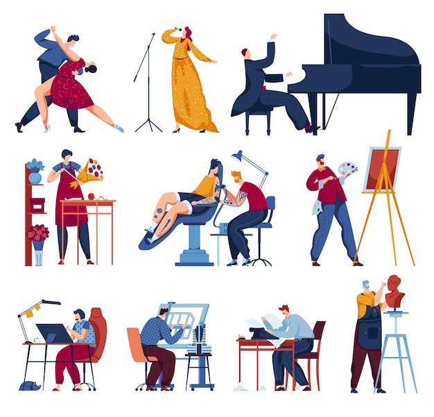 Professione creativa per artista set illustrazione vettoriale piatto uomo donna personaggio isolato su bianco pittore artistico persona coppia ballerino