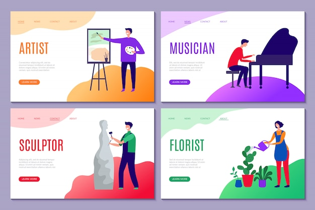 Atterraggio di professione creativa. le pagine web dei siti aziendali con persone creative artisti scultore disegna personaggi stilizzati di attori
