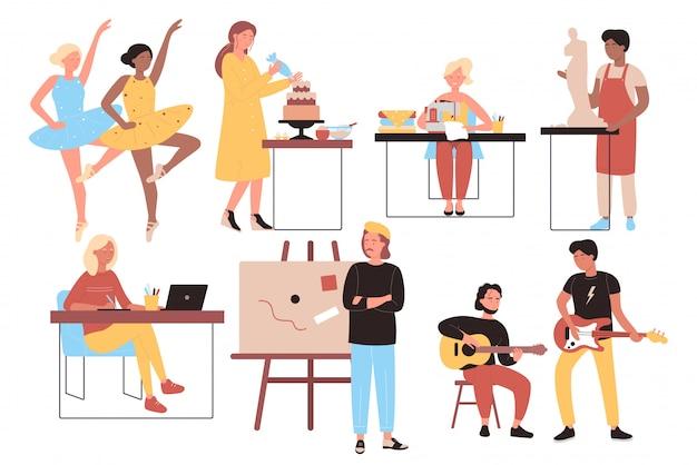Illustrazione piana di progettazione della serie di caratteri creativa delle opere e di professioni