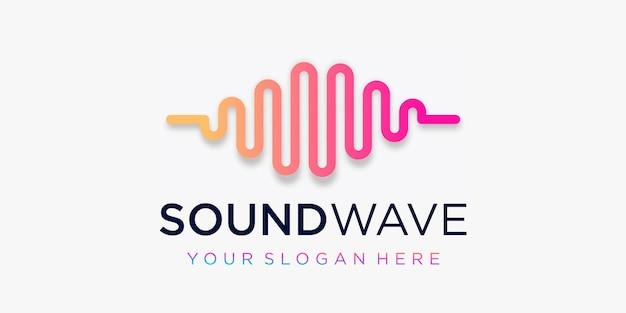 Design del logo impulso creativo. elemento onda. modello di logo musica elettronica, equalizzatore