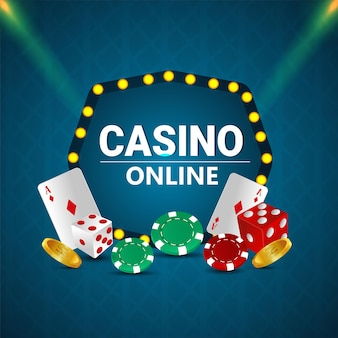 Illustrazione vettoriale realistica creativa del gioco d'azzardo del casinò con chip di carte da gioco e moneta d'oro