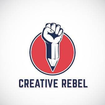 Segno, simbolo, icona o logo astratto ribelle creativo. pugno di rivoluzione mescolato con un concetto di matita in cerchio rosso. mano antisommossa stilizzata.