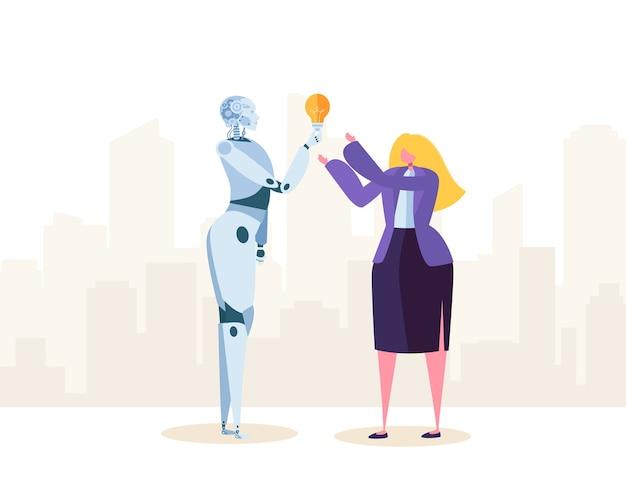 Robot creativo aiuta la donna di affari a fare una buona soluzione