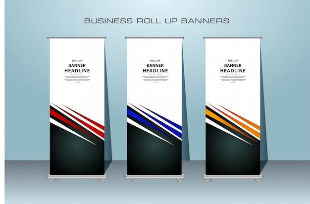 Design creativo banner rollup nei colori rosso, blu e arancione
