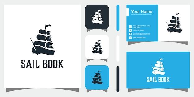 Icona e biglietto da visita dei modelli di concetto di libro di vela creativo vettore premium