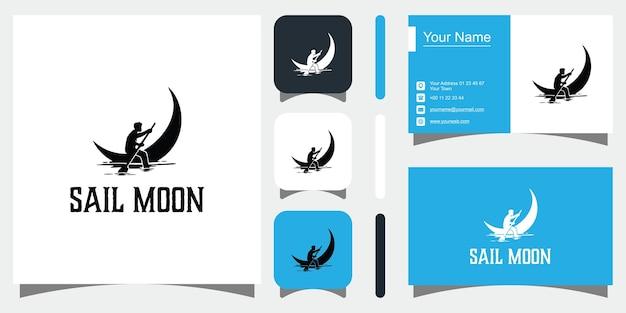 Icona e biglietto da visita dei modelli di concetto creativo di sail moon vettore premium