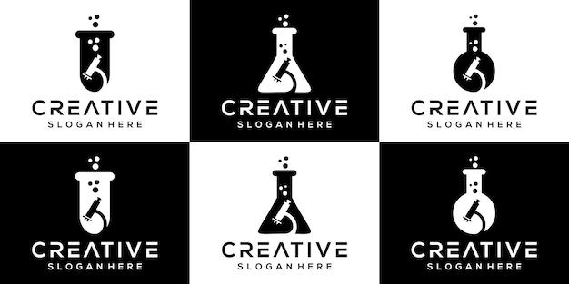 Logo del laboratorio di scienze creative set di icone logo design