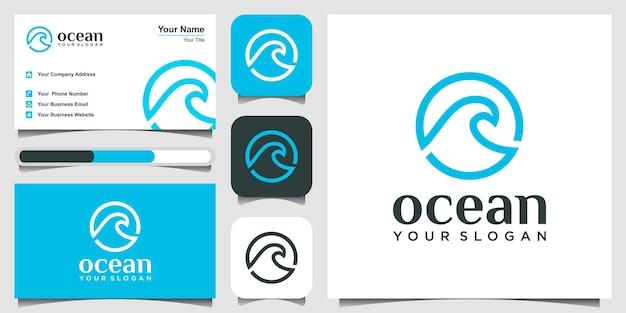 Ispirazione creativa per il design del logo dell'onda del mare