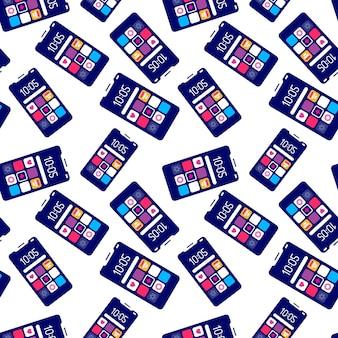 Modello senza cuciture creativo del telefono cellulare con l'icona dell'applicazione su sfondo bianco