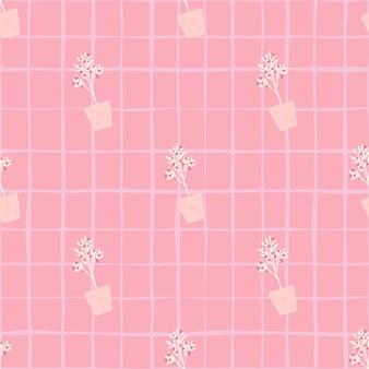 Modello senza cuciture creativo con ornamento della pianta d'appartamento. sfondo a scacchi. opere d'arte interni nella tavolozza rosa. progettato