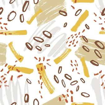 Modello senza cuciture creativo con macchie di vernice vivida, macchie, macchie, scarabocchi su sfondo bianco. raffinata illustrazione vettoriale dipinta a mano in stile moderno per carta da imballaggio, carta da parati, stampa su tessuto.