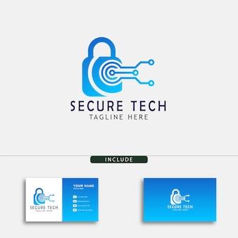 Modello di progettazione del logo tecnico sicuro e creativo per il tuo computer e negozio digitale