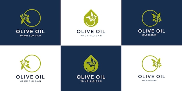 Set creativo logo design olio d'oliva