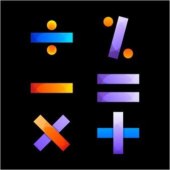 Insieme creativo del modello di progettazione del logo di simboli matematici