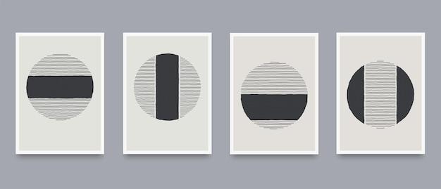 Set creativo opuscoli minimalisti dipinti a mano con elementi lineari ondulati dinamici. illustrazione di vettore di modelli creativi astratti alla moda contemporanea moderna.