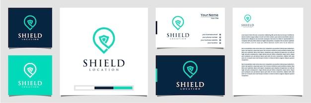 Design del logo della posizione dello scudo creativo, con il concetto di un biglietto da visita con logo a spillo e carta intestata