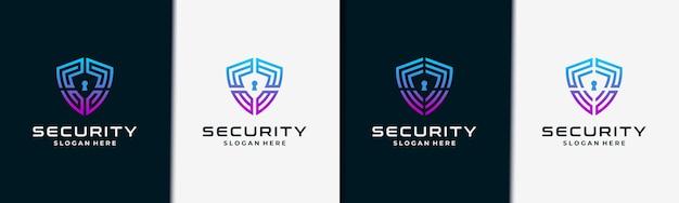 Collezione logo scudo creativo per sicurezza