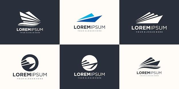 Creativo nave logo icona set design illustrazione vettoriale.