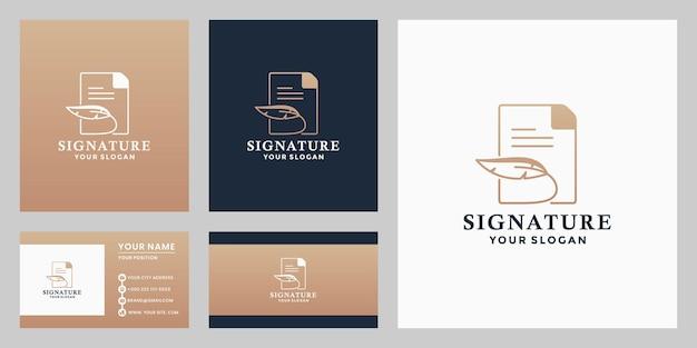 Penna piuma firma creativa con modelli di design del logo della nota