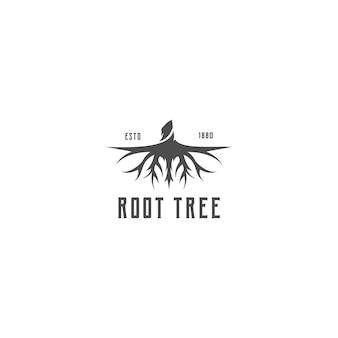 Albero radice silhouette creativa con disegno vettoriale