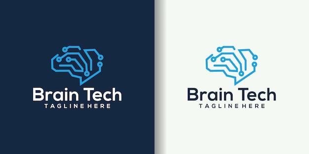 Illustrazione creativa di progettazione di logo di tecnologia del cervello intelligente.