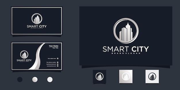 Ispirazione creativa per il design del logo della città intelligente con un fantastico concetto di colore sfumato argento vettore premium